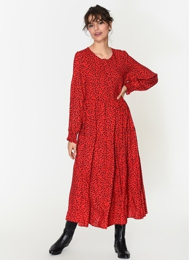 Loves You Puantiye Desen Maxi Boy Elbise Kırmızı